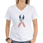 Patriotic Ribbon w/Eagle #2 Women's V-Neck T-Shirt