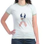 Patriotic Ribbon w/Eagle #2 Jr. Ringer T-Shirt