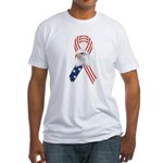 Patriotic Ribbon w/Eagle Fitted T-Shirt