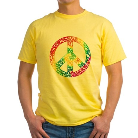 Rainbow Peace Symbols Yellow T-Shirt