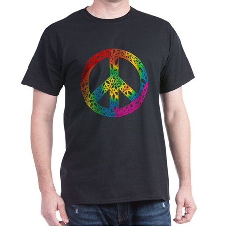 Rainbow Peace Symbols Dark T-Shirt