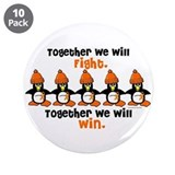 "Winter Penguin 5 (Orange) 3.5"" Button (10 pack)"