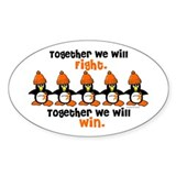 Winter Penguin 5 (Orange) Oval Decal