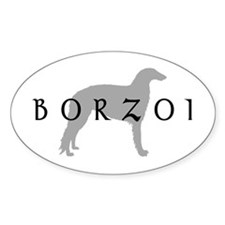 borzoi dog breed Oval Decal