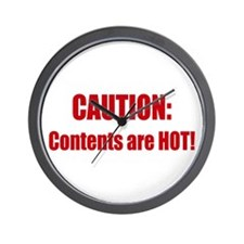 Caution: Contents HOT! Wall Clock