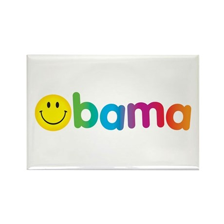 Obama Smiley Face Rainbow Rectangle Magnet (10 pac