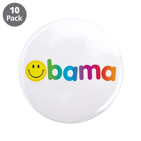 "Obama Smiley Face Rainbow 3.5"" Button (10 pack)"