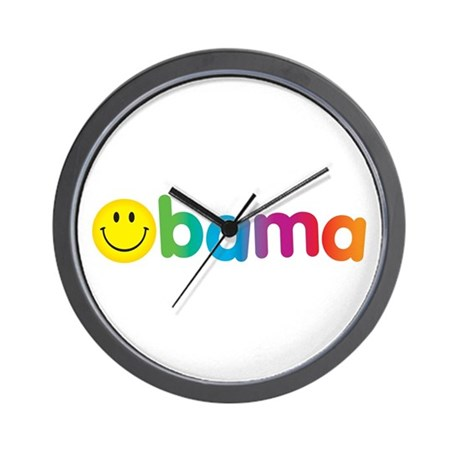 Obama Smiley Face Rainbow Wall Clock