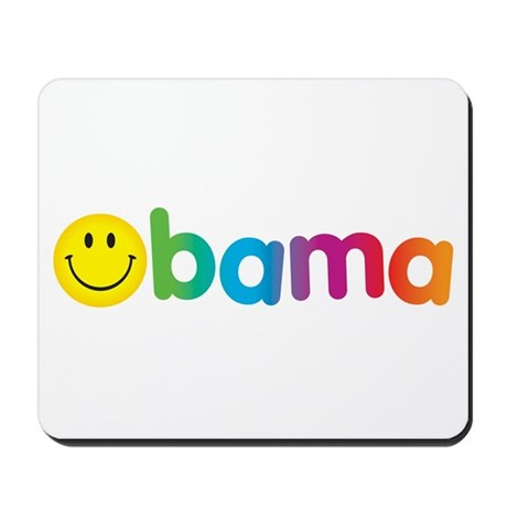 Obama Smiley Face Rainbow Mousepad