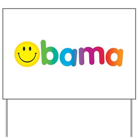 Obama Smiley Face Rainbow Yard Sign