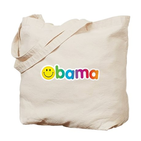 Obama Smiley Face Rainbow Tote Bag