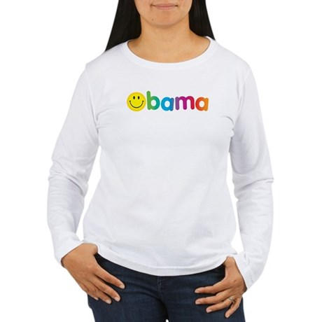 Obama Smiley Face Rainbow Women's Long Sleeve T-Sh