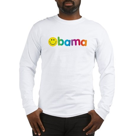 Obama Smiley Face Rainbow Long Sleeve T-Shirt