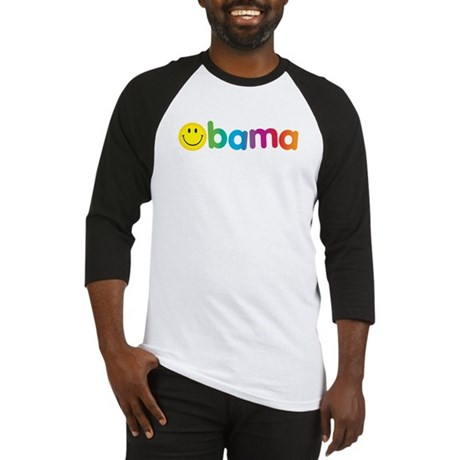 Obama Smiley Face Rainbow Baseball Jersey