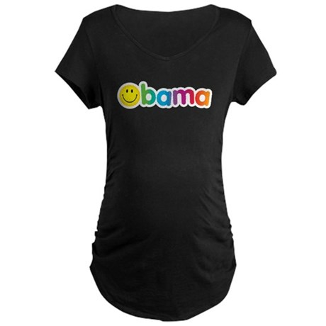 Obama Smiley Face Rainbow Maternity Dark T-Shirt