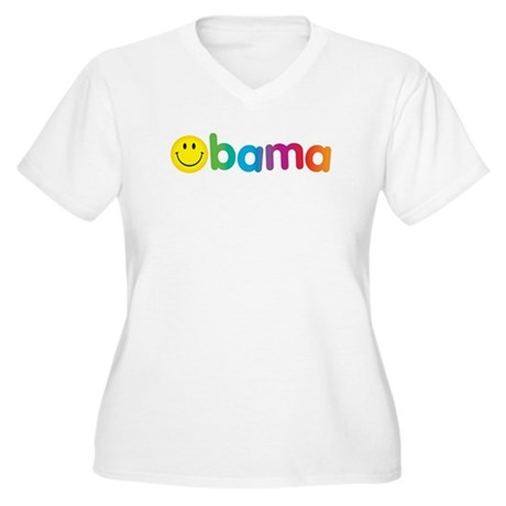Obama Smiley Face Rainbow Women's Plus Size V-Neck