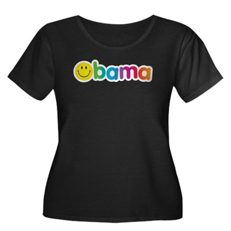 Obama Smiley Face Rainbow Women's Plus Size Scoop