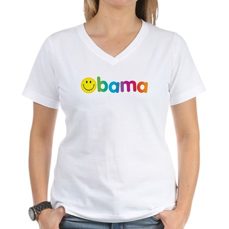 Obama Smiley Face Rainbow Women's V-Neck T-Shirt