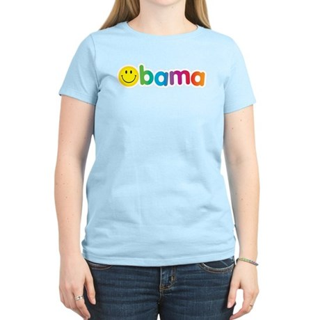 Obama Smiley Face Rainbow Women's Light T-Shirt