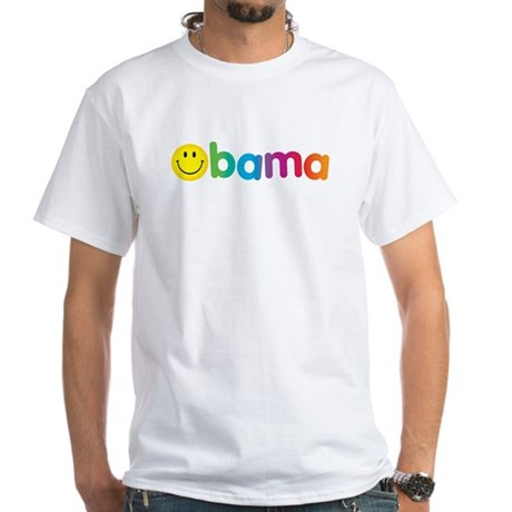 Obama Smiley Face Rainbow White T-Shirt