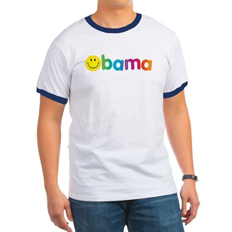 Obama Smiley Face Rainbow Ringer T