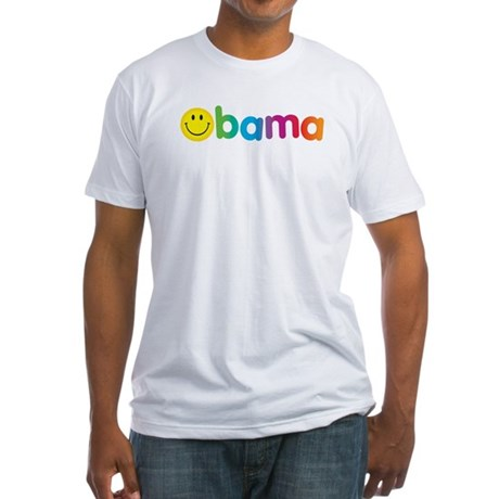 Obama Smiley Face Rainbow Fitted T-Shirt