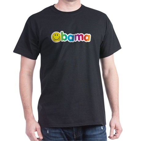 Obama Smiley Face Rainbow Dark T-Shirt