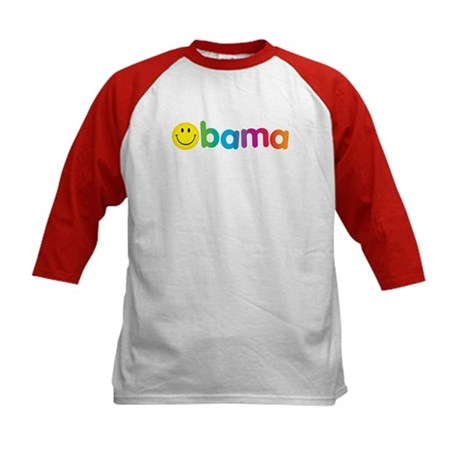 Obama Smiley Face Rainbow Kids Baseball Jersey