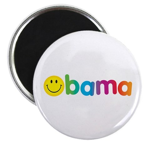 Obama Smiley Face Rainbow Magnet