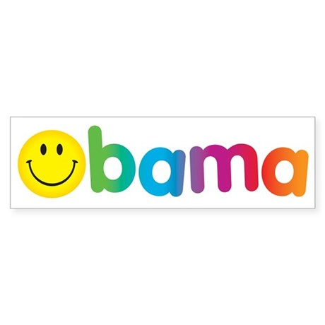 Obama Smiley Face Rainbow Bumper Sticker