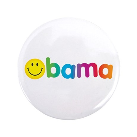 "Obama Smiley Face Rainbow 3.5"" Button"