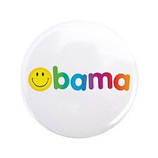 "Obama Smiley Face Rainbow 3.5"" Button"