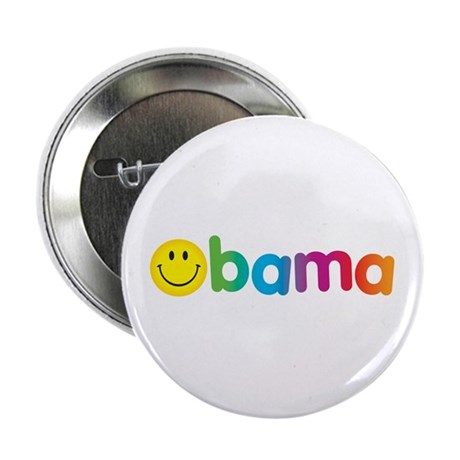 "Obama Smiley Face Rainbow 2.25"" Button"