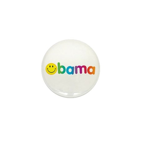 Obama Smiley Face Rainbow Mini Button