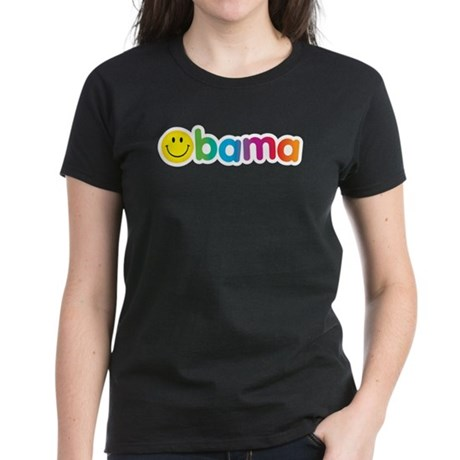 Obama Smiley Face Rainbow Women's Dark T-Shirt