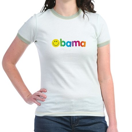 Obama Smiley Face Rainbow Jr. Ringer T-Shirt