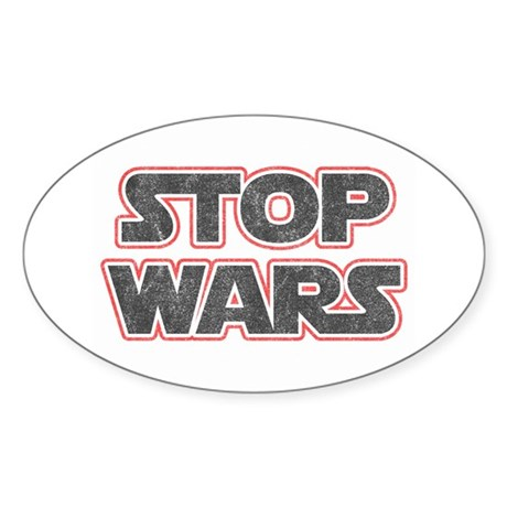 Stop Wars Oval Sticker