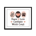 Peace Love Cardigan Welsh Corgi Framed Panel Print
