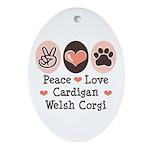 Peace Love Cardigan Welsh Corgi Oval Ornament