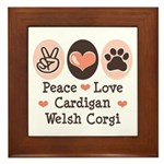 Peace Love Cardigan Welsh Corgi Framed Tile
