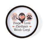 Peace Love Cardigan Welsh Corgi Wall Clock