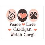 Peace Love Cardigan Welsh Corgi Small Poster