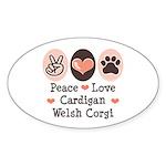 Peace Love Cardigan Welsh Corgi Oval Sticker