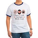Peace Love Cardigan Welsh Corgi Ringer T