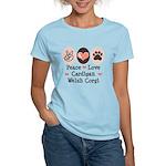 Peace Love Cardigan Welsh Corgi Pink T-Shirt