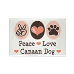 Peace Love Canaan Dog Rectangle Magnet (10 pack)