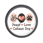 Peace Love Canaan Dog Wall Clock