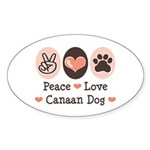 Peace Love Canaan Dog Oval Sticker