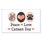 Peace Love Canaan Dog Rectangle Sticker