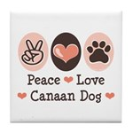 Peace Love Canaan Dog Tile Coaster